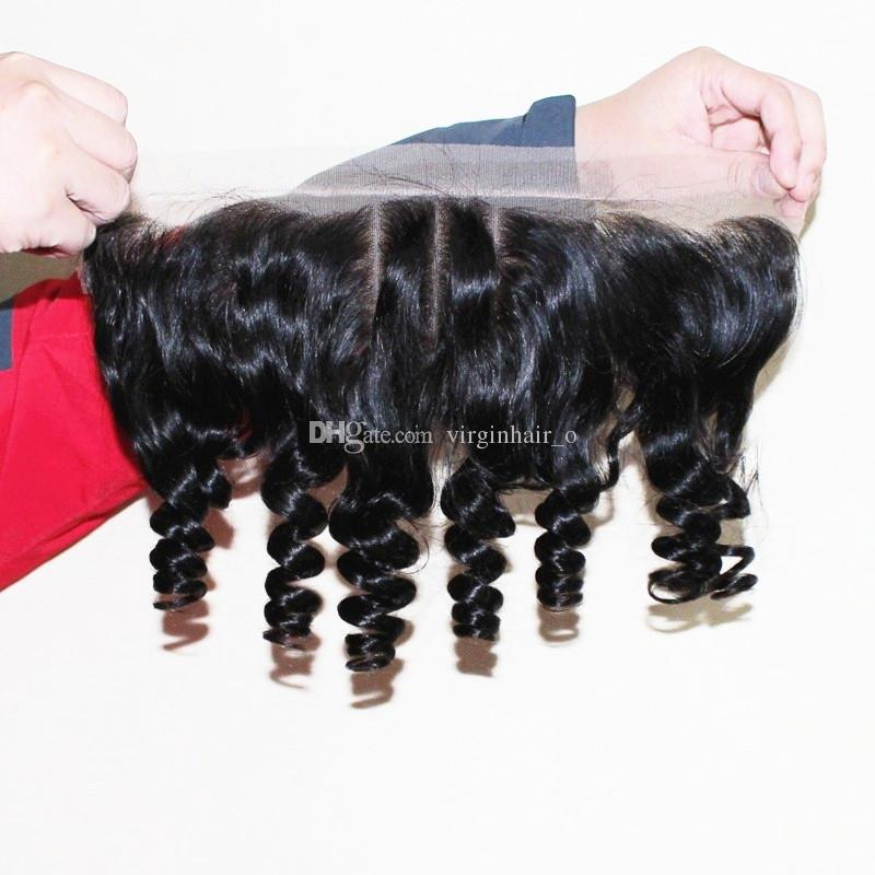 Unprocessed Peruvian Funmi Hair With Closure Bouncy Curls 9A Aunty Funmi Hair 3 Bundles With Three 3 Way Part Lace Frontal