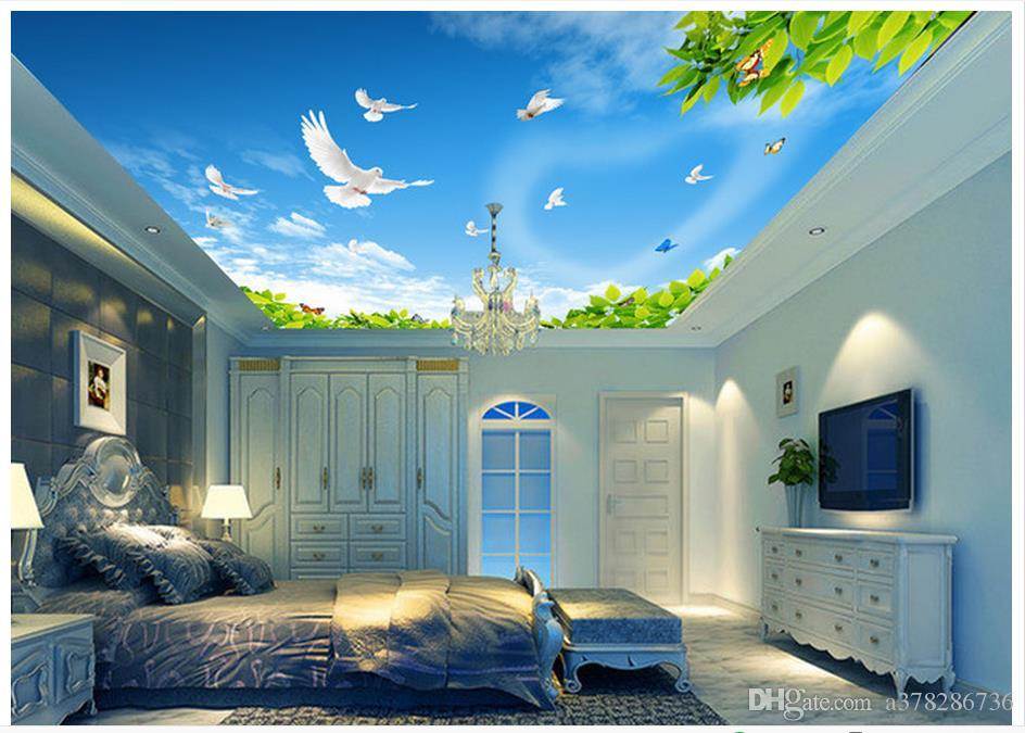 3d wallpaper custom 3d ceiling murals wallpaper mural blue for Ceiling mural wallpaper