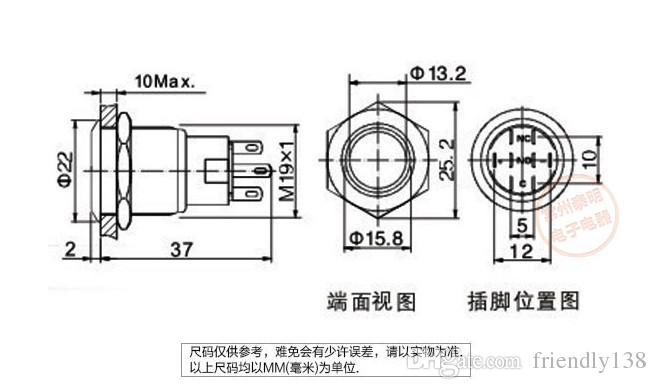 Interruptor de botón LED de metal 304 Acero inoxidable 24V 1NO 1NC 19mm de diámetro Autobloqueo o auto reinicio a prueba de agua momentáneo