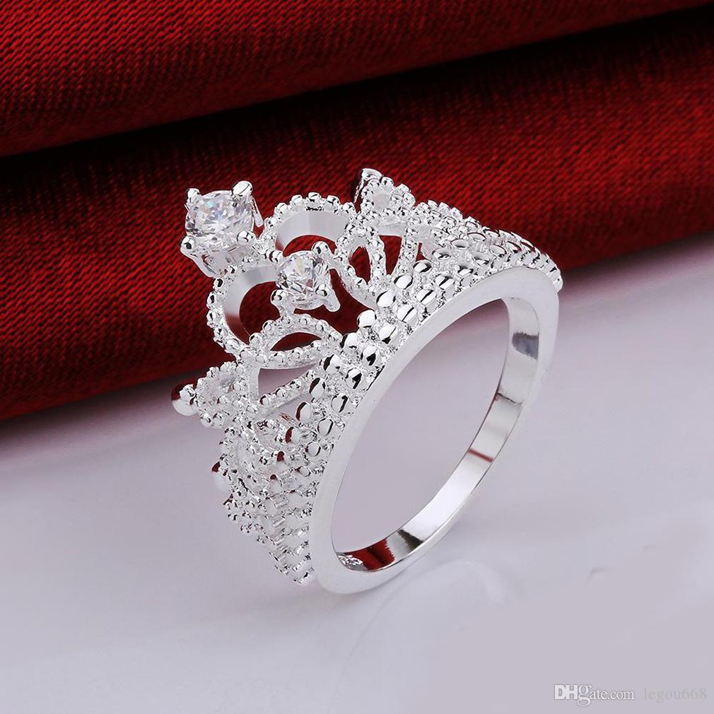 2017, Europe and America sell hot explosion jewelry, crown silver plated female ring, zircon ring