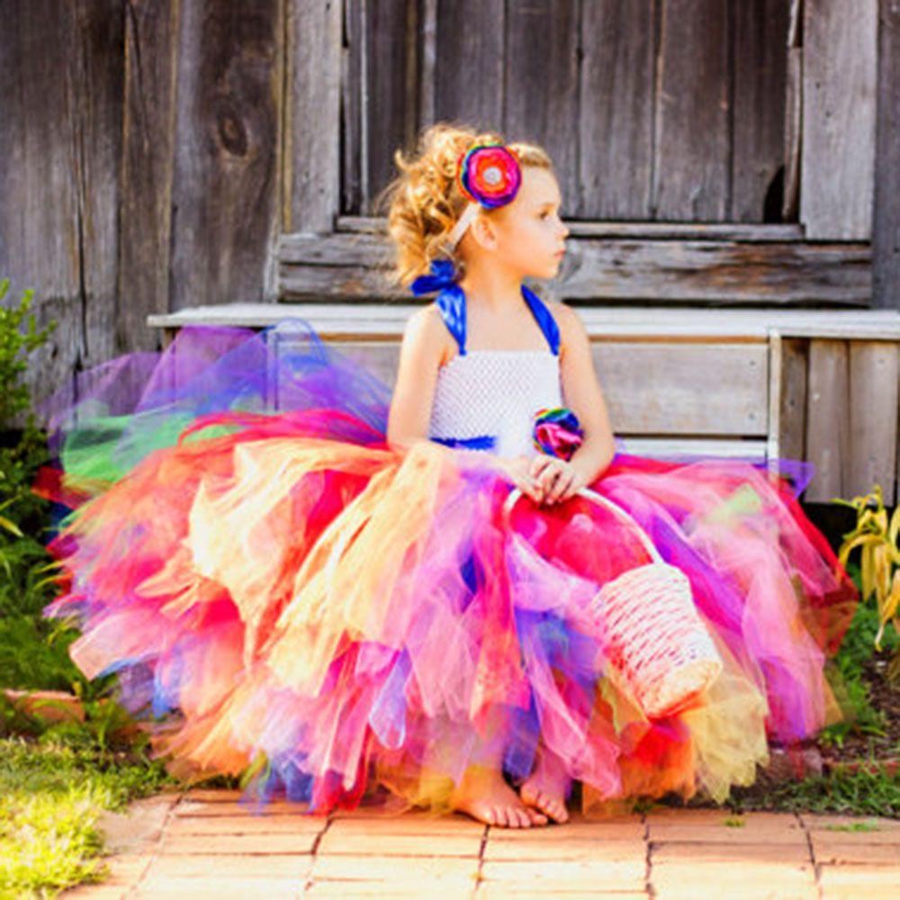 Compre 2017 Rainbow Tutu Little Girl\'s Vestido De Falda Para ...