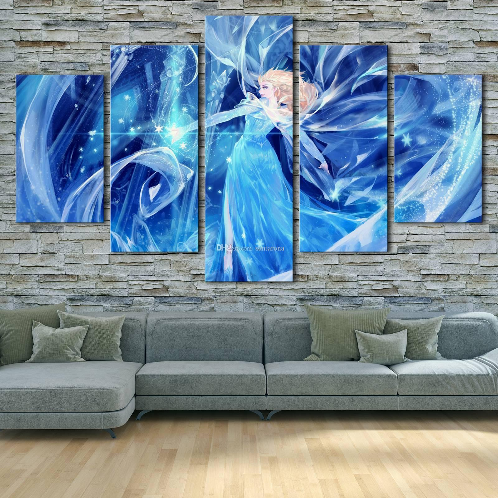 2017 No FrameDisney Frozen Elsa , Series Hd Canvas Print 5 Panel Wall Art  Oil Painting Textured Abstract Pictures Decor Living Room Decoration From  ... Part 49