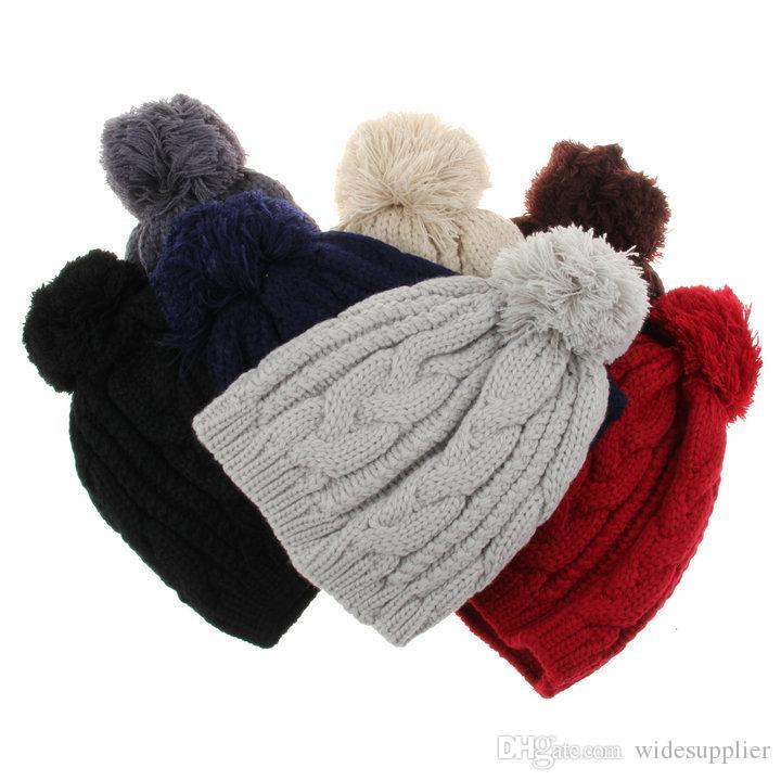 Чистый цвет теплый шапочки шляпы для мужчин и женщин 8-символьный твист большой волос шаровая кепка вязаная шапка мужская шляпа для зимы весна мужской шерстяной шляпе