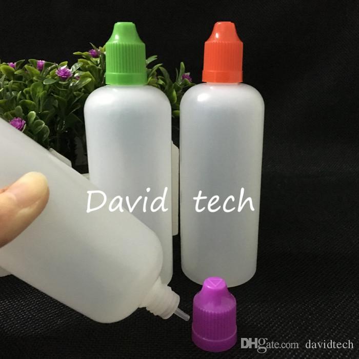 재고 무료 배송 LDPE 빈 병 전자 액체 120ML 자식 증거 드롭퍼 병 부드러운 플라스틱 바늘 병