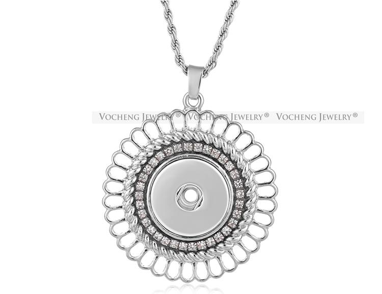 NOOSA Ingwer Snap Austauschbare Schmuck Halskette 18mm aushöhlen Blume Intarsien Kristall Edelstahl Kette VOCHENG NN-506