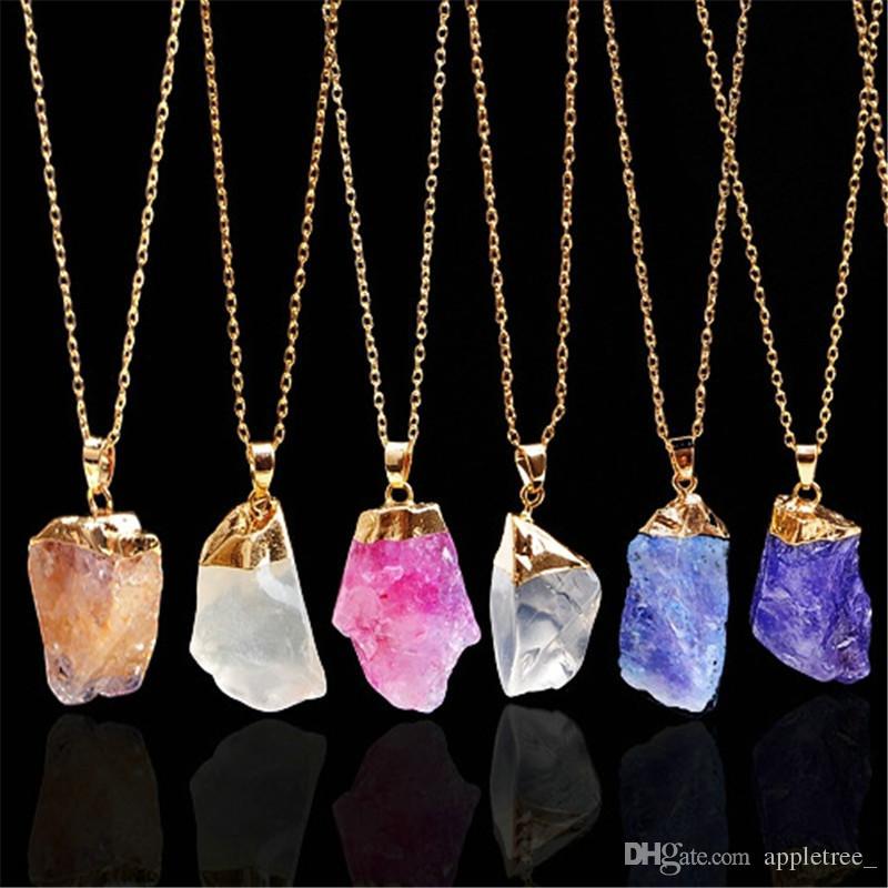 0c153dc11d37 ... Naturales Collares Para Mujeres Hombres Joyas Piedras Naturales Collar  De Cristal Colgante Cadenas Para Mujer Para Hombre Jewellry es Al Por Mayor  A ...