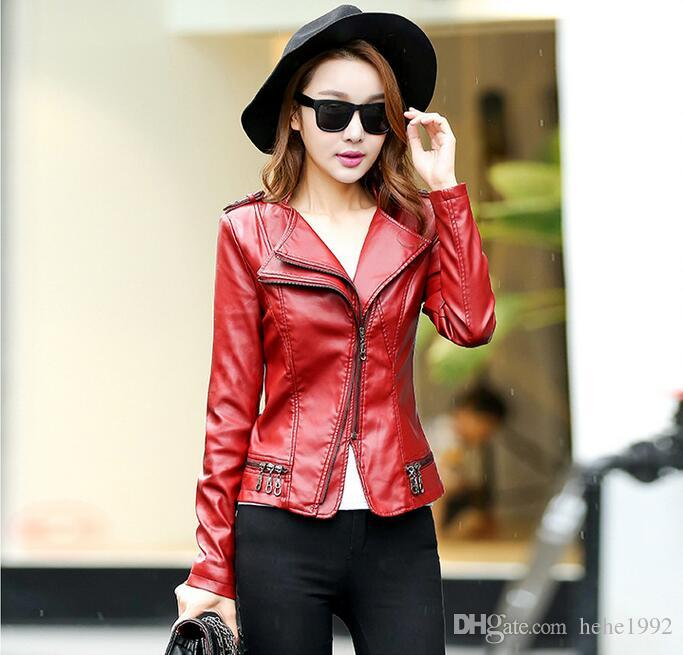 2016 Autumn new Korean version of the small leather short paragraph Slim PU motorcycle jacket ladies coat big yards