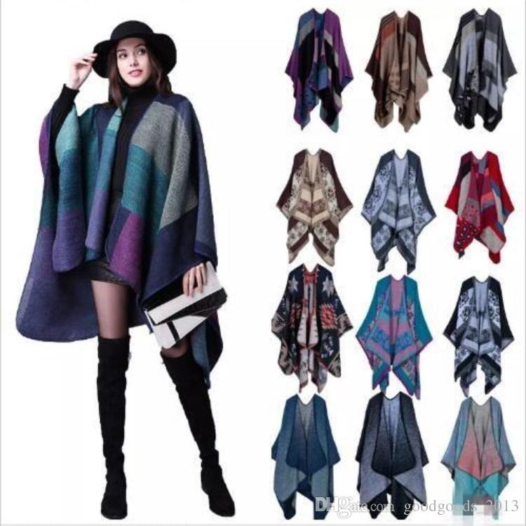 2c8a3890191 Women Pashmina Scarf Wrap Shawl Blanket Cloak 130*155CM Patchwork Plaid  Cashmere Poncho Cape Lady Knit Shawl Cape 18 Colors b1520