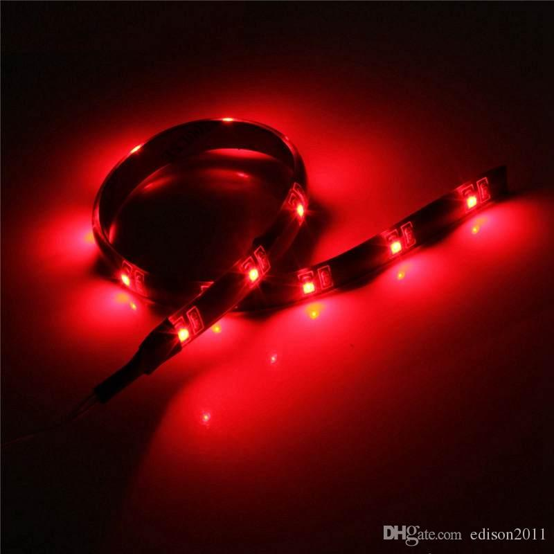 Edison2011 Hot Sale 30CM 12 LED 3528 SMD Waterproof Flexible Strip Tape Light Car Auto Decor Lamp Battery Operated White Red Blue Green