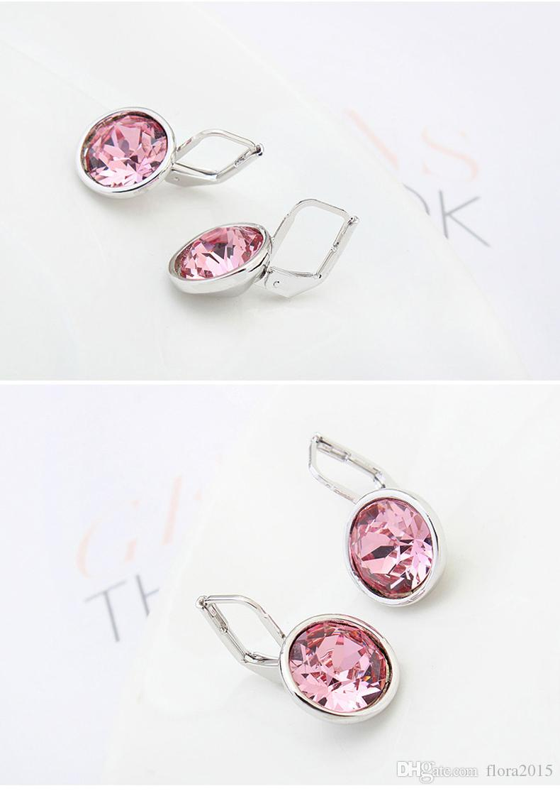Bella mini pierced earrings made with original Swarovski elements white filled clear crystal best gift for women for Valentine's gift