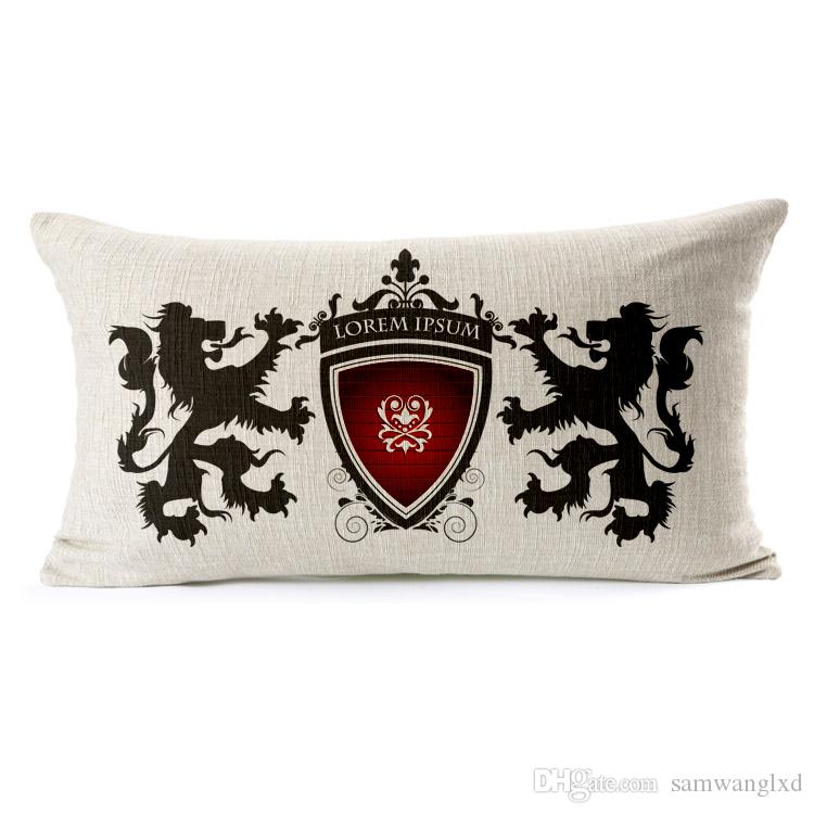 Creative Europe Royal Logo Decorative Cushion Cover Cotton Linen Throw Pillowcase For Sofa Car Seat Home Decor 45*45cm Square