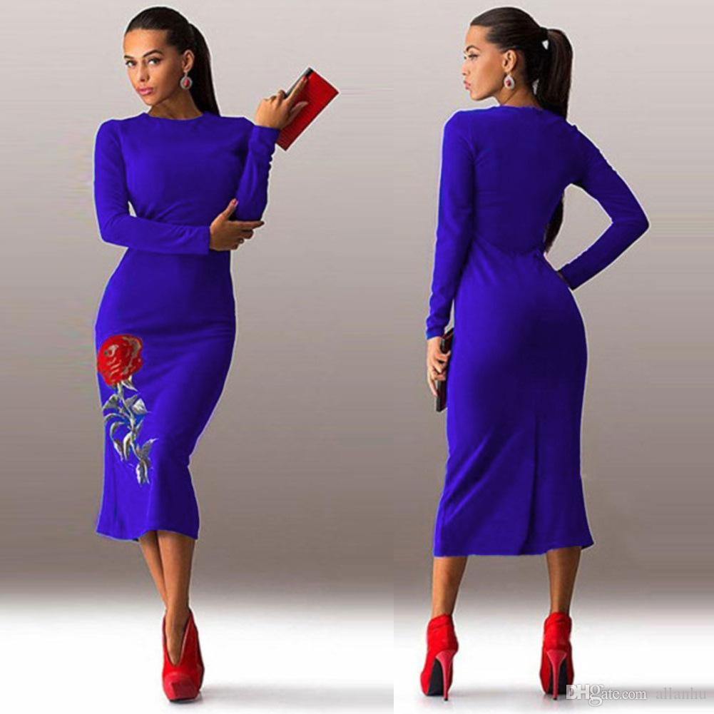2017 Spring New Fashion Simple Casual Dresses Sheath Embroidery ...