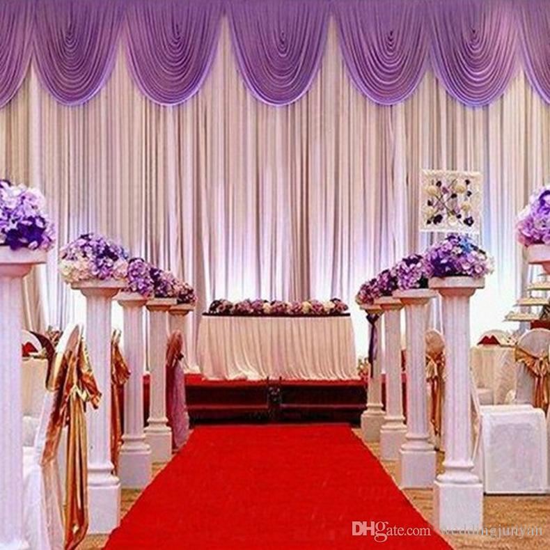 3m6m white ice silk wedding backdrop curtain with swags wedding 3m6m white ice silk wedding backdrop curtain with swags wedding props satin drape pleated wedding stage decorations backdrops dhl wedding decor wholesale junglespirit Image collections