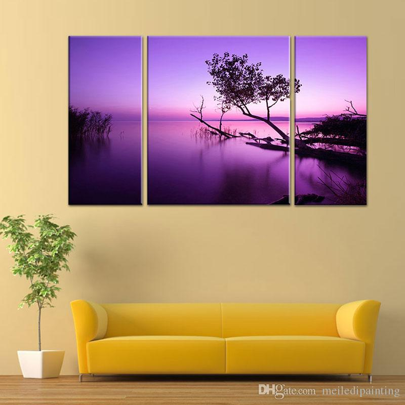 3 Picture Combination Purple Light Black Tree Abstract Oil Printing ...