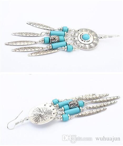 Wholesale&Retail New 2016 Vintage Styles Women's Round Shape With Turquoise Leaves Tassel Earrings Black/Turquoise FH HOOK Earrings