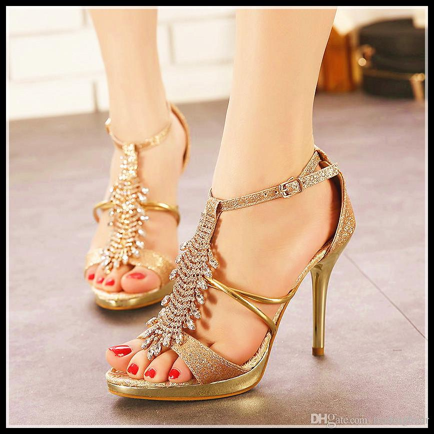 2084c42ff620 Gold With Rhinestone High Heel Sandals Wedding Dress Shoes High Platform  Stiletto Heels Black Gladiator Sandals Epacket Cheap Shoes For Men Italian  Shoes ...