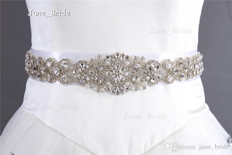 Bridal Sash Rhinestone Applique Crystal Pearl Rhinestone Belt Trim Bride Party Tie Backs New Style Real Photo for Wedding Occassion Dress