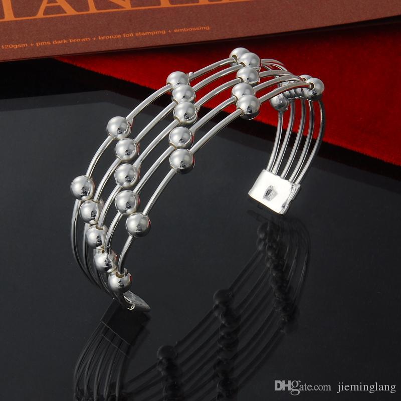 Factory direct wholesale 925 Sterling Silver Bangle Bracelet 69mm 5 line smooth bead fashion silver bracelet