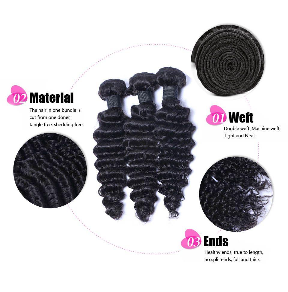 ELIBESS Cheveux -Virgin Armure de Cheveux Humains 60g Par Pièce 4 Bundles Par Vague Profonde Extension de Cheveux Humains