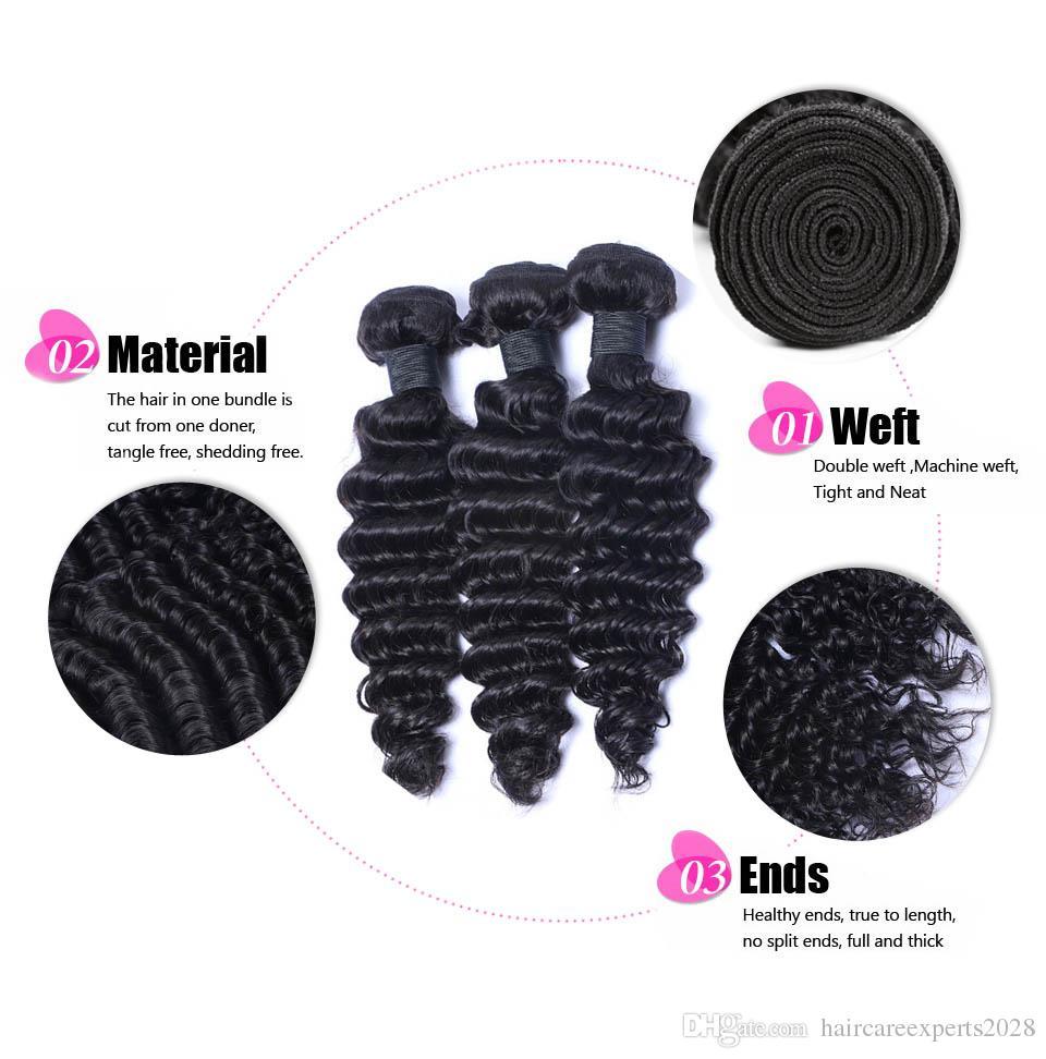 ELIBESS Saç-Saç İnsan Saç Örgüleri 60g Başına 4 Demetleri Başına Derin Dalga İnsan Saç Uzatma