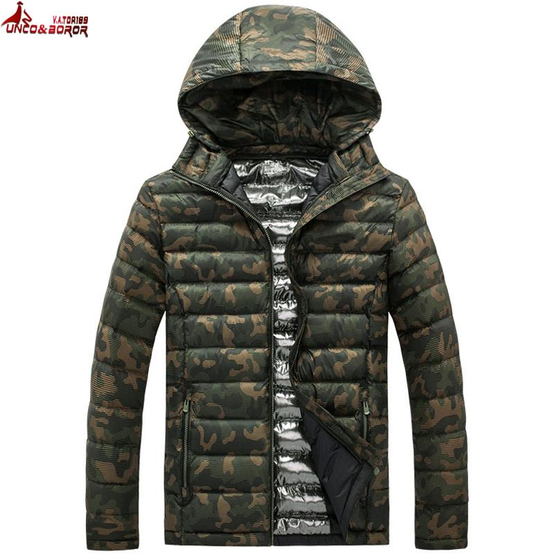 UNCO&BOROR Winter Jacket Men light Cotton Padded down jacket coat Clothing warm Male camouflage military Parkas coat size L~5XL