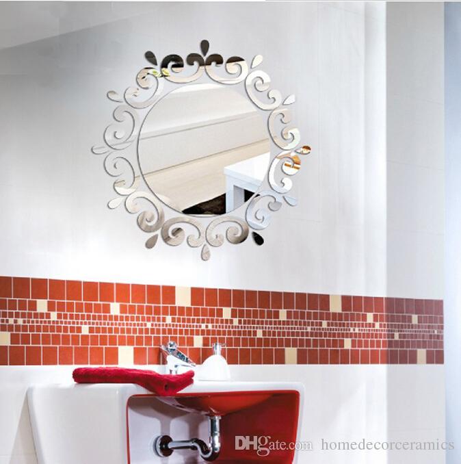 Bathroom Mirror Stickers crystal 3d mirror wall stickers decoration wall sticker decal tv