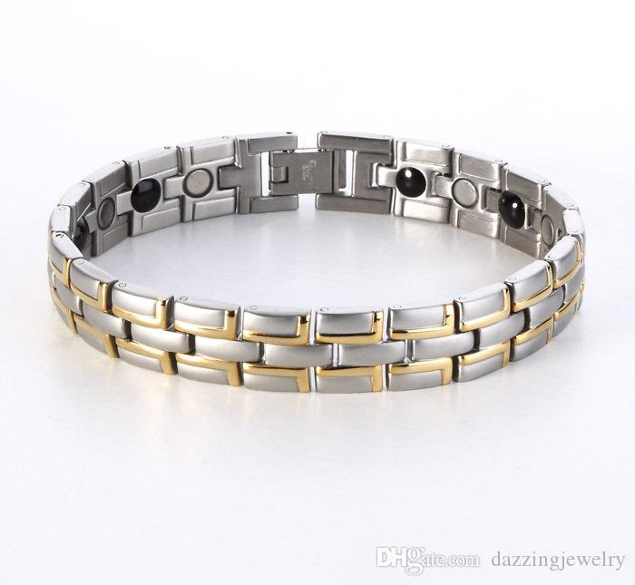Fashion Quantum Bio Energy Stainless Steel Magnetic Health Bracelet With Germanium Infrared Anion Benefits wholesale