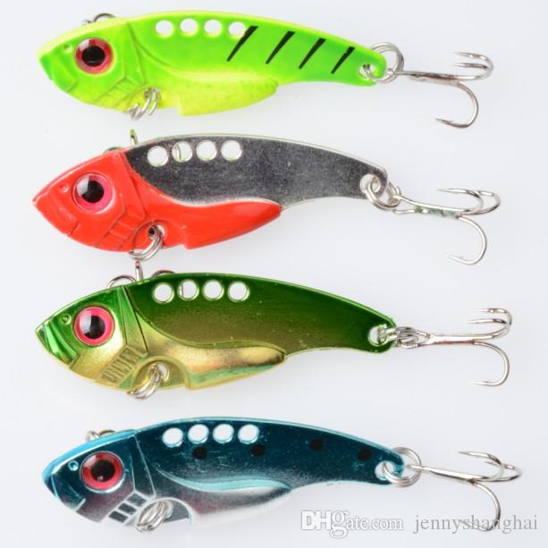 20pcs Hot Fishing Lure Blade Metal VIB Hard Bait Bass Walleye Crappie 11G 5.5CM Fishing Tackle With 8# Hools