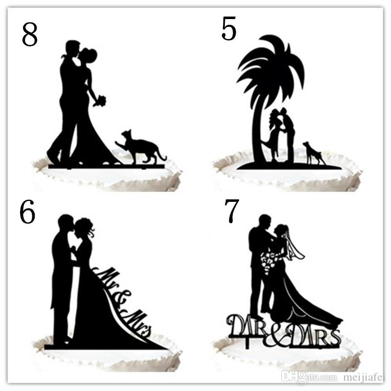 Wedding cake topper-Two Cats in Love Wedding Cake Topper Anniversary Cupcake ,for option
