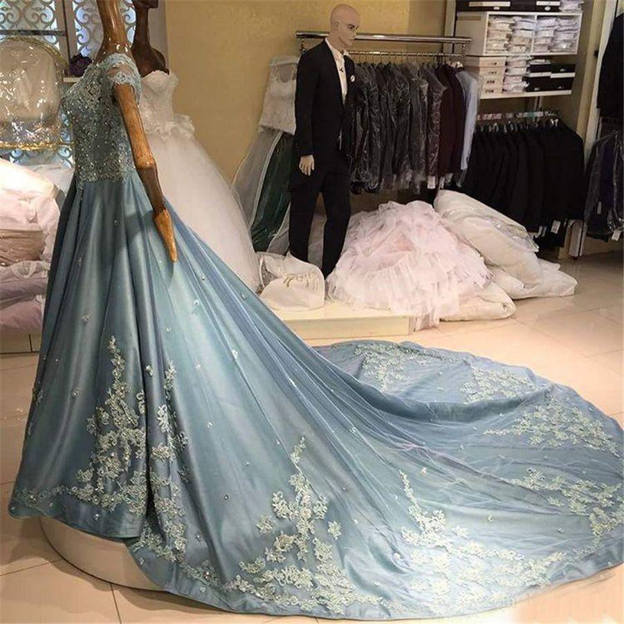 Longo Plus Size Rock Azul Elegante Lace Applique Cristal Mangas Curtas Prom Vestido de Luxo Vestidos Formais para As Mulheres Árabes Vestidos de Noite