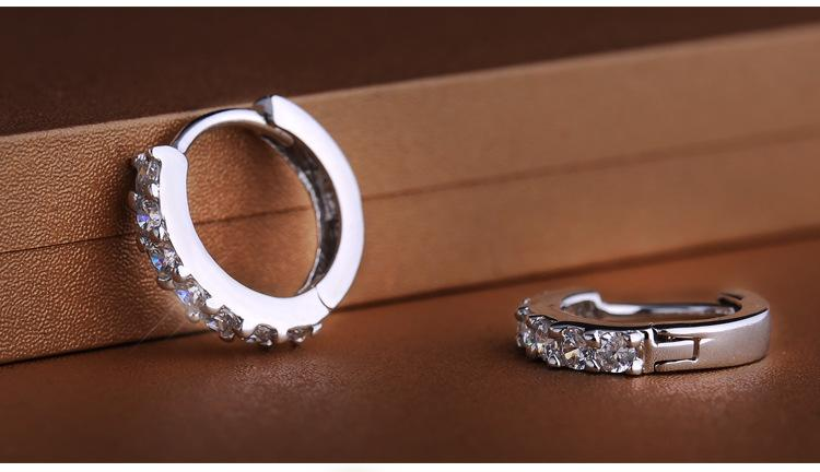 925 sterling silver small hoop earrings with zircon fashion jewelry engagement gift for women good quality