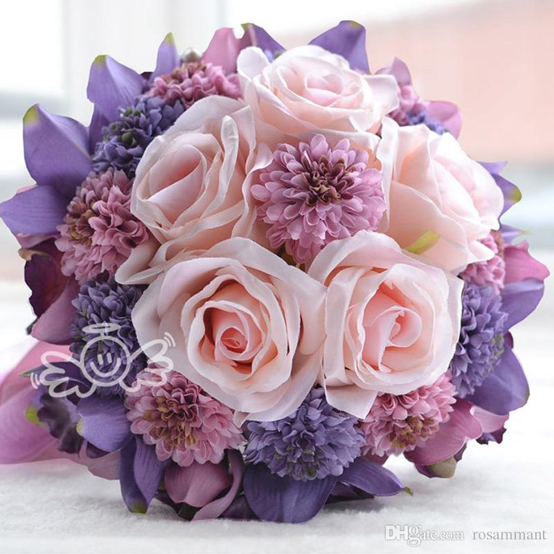 Purple And Pink Wedding Flowers: Beach Wedding Flowers Bridal Bouquets Purple Rose Romantic