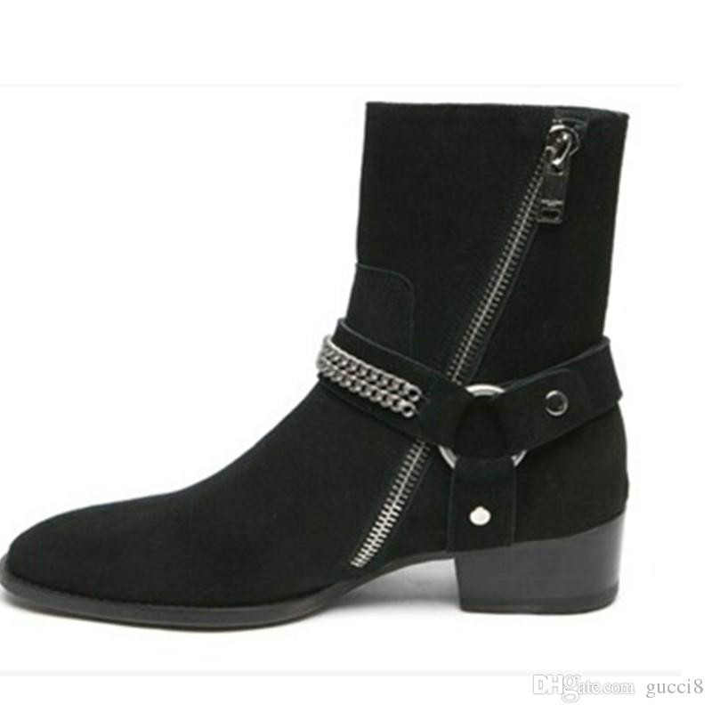 Moda Wyatt Biker Zincirler Ayak Bileği Çizmeler Erkek Ayakkabı Sivri Burun Toka Erkekler Çizmeler Kahverengi Deri Erkek Elbise Ayakkabı Botas Militares Ayakkabı Erkekler