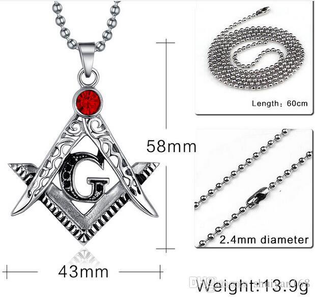 Freemason Masonic Symbol Red Gemstone Pendant Nencklac Retro Ruby Pendant Metal Pendant Charm Pendant Necklace Jewelry DHL