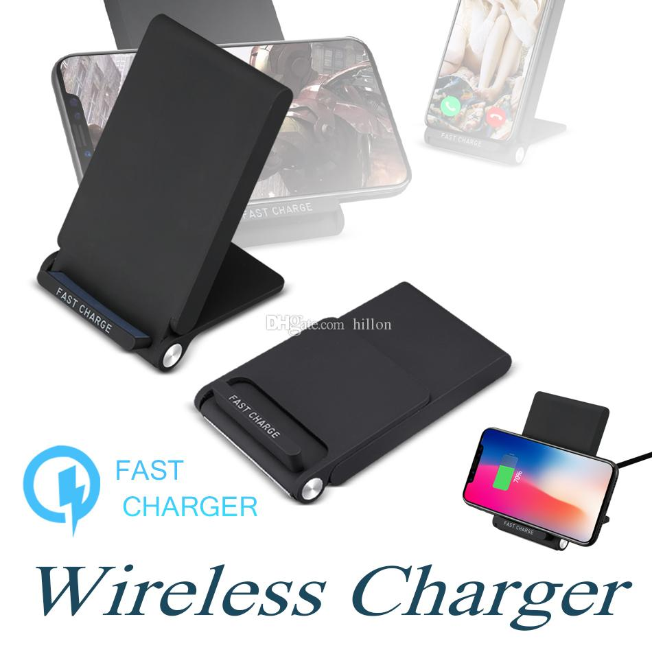 Qi Wireless Charger Pad For iPhone X 8 Plus 3 Coils Foldable Wireless Fast  Charging Charger Stand For Samsung Note 8 with Package