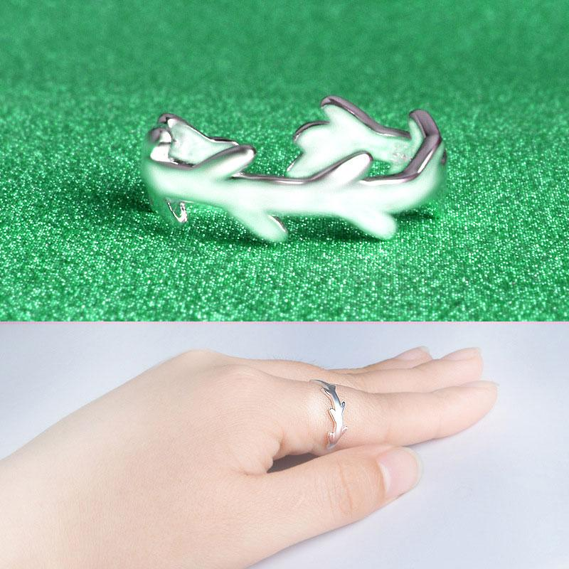 925 Sterling Silver Ring female Korean Fashion Hand Drawing Ring Opening Small Clear Rings for Women 925 Sterling Silver Jewelry