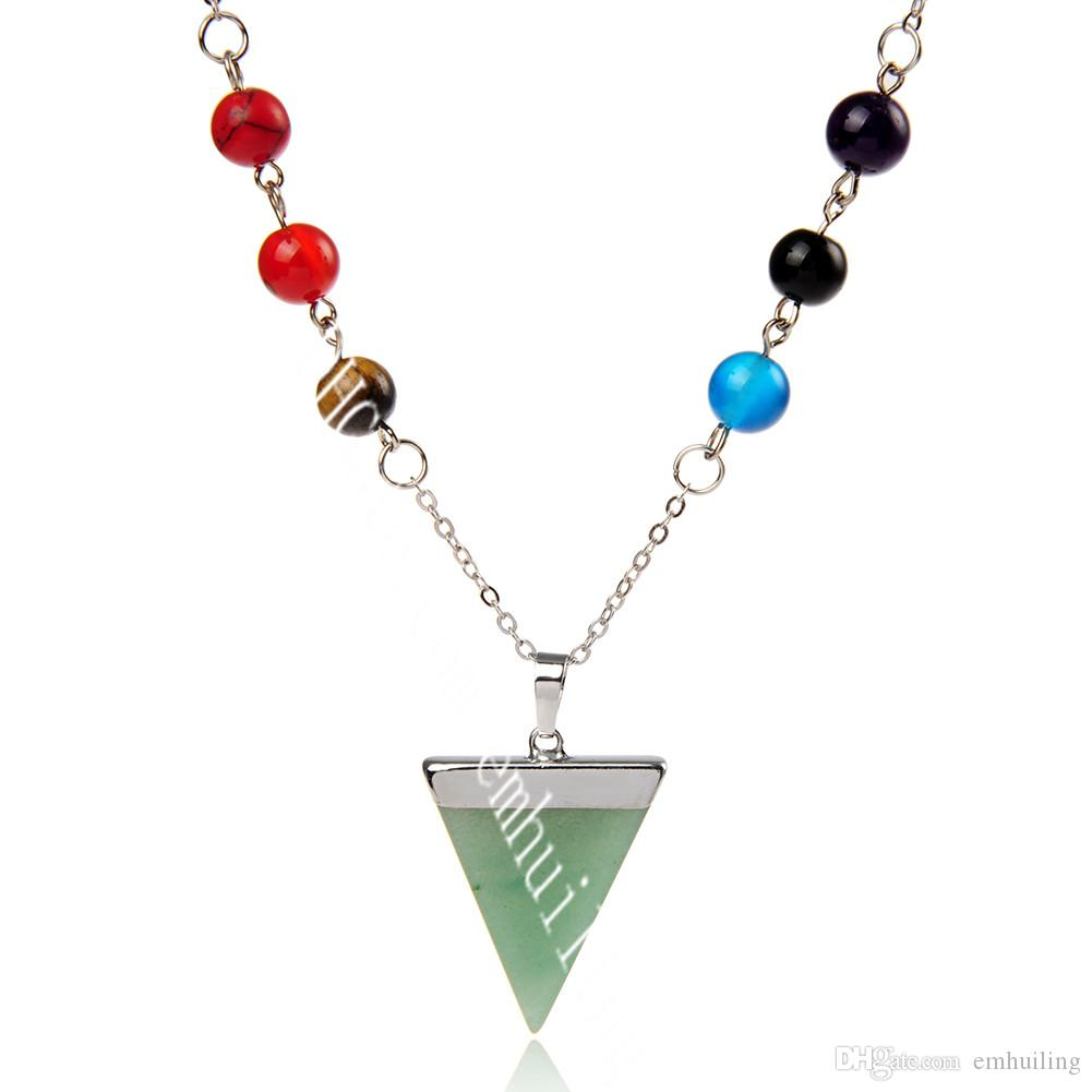 Special Seven Chakra Symbol Necklace Yoga Necklace Reiki Energy Triangle Natural Gemstone Pendant on 8MM Semi Gem Chakra Bead Chain Necklace