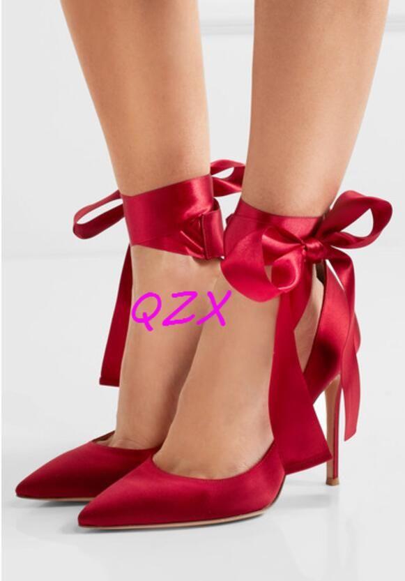 2017 МОДА СТИЛЬ женщины атласные высокие каблуки зашнуровать насосы свадебные туфли дамы точка toe сексуальные насосы тонкий каблук партии обуви