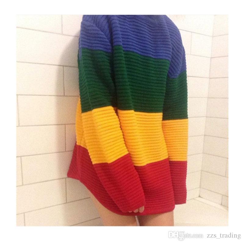 2017 Herbst und Winter Modelle der Farbe gestreiften Pullover Frauen Kopf lose große Größe in der langen Mutterschaft Kleid