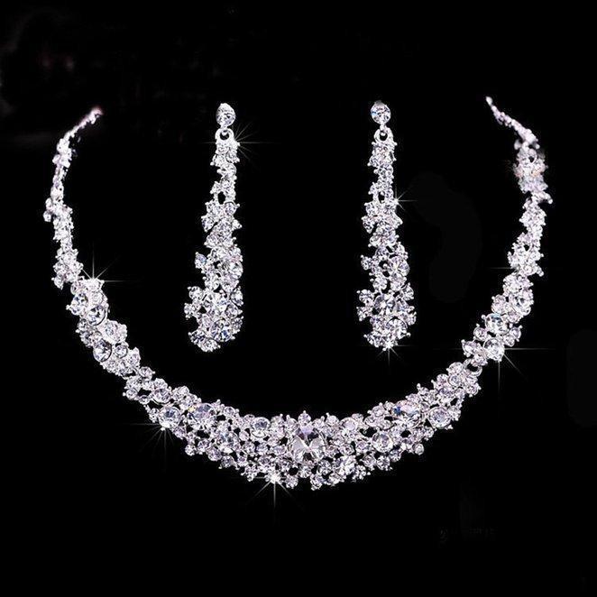 Barato nupcial de cristal conjunto de jóias de prata conjuntos de jóias colar banhado brincos de diamante de casamento para damas de honra noiva mulheres Acessórios nupcial