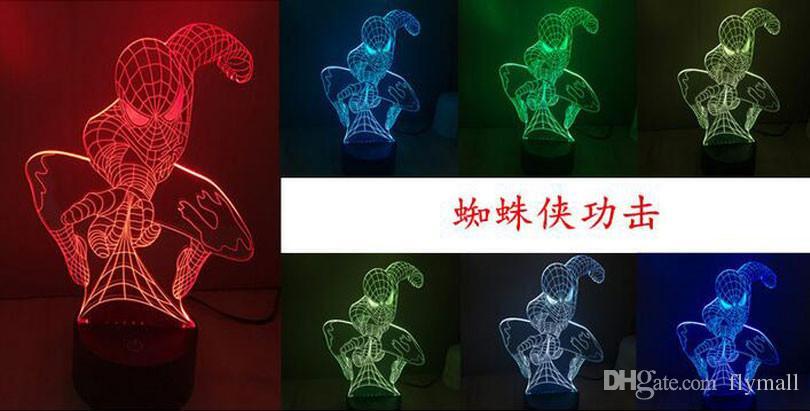 Spiderman 3D Night Lamp Night Light Optical 9 LEDs Night Light DC 5V Fábrica Atacado Eiffel Towe