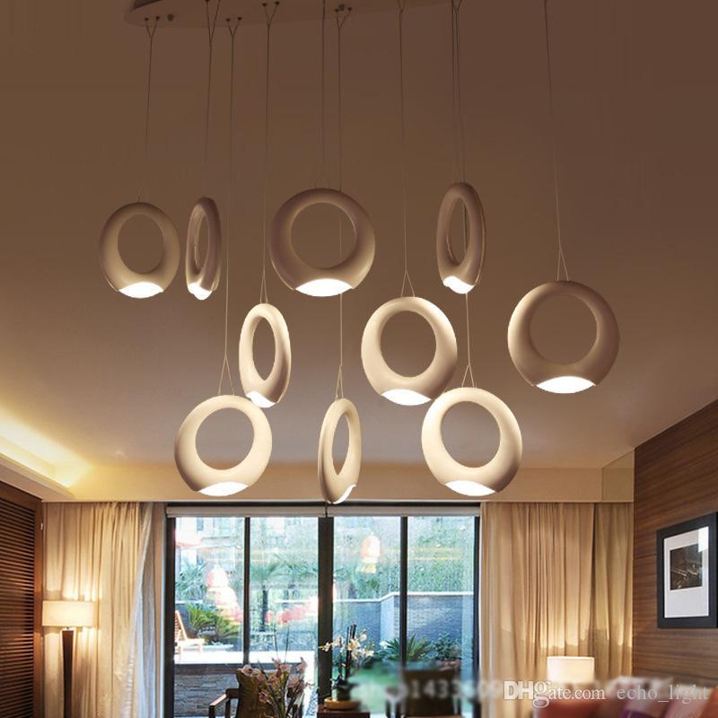 Modern Pendant Light Led Ring Chandelier Ceiling Light White Ring ...