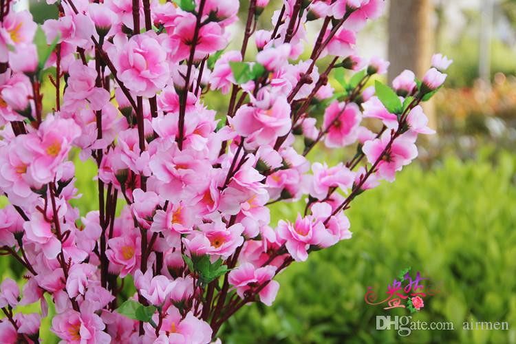 100 Adet Yapay Kiraz Bahar Erik Şeftali Çiçeği Şube İpek Çiçek Ağacı Düğün Dekorasyon Için beyaz kırmızı sarı pembe 5 renk