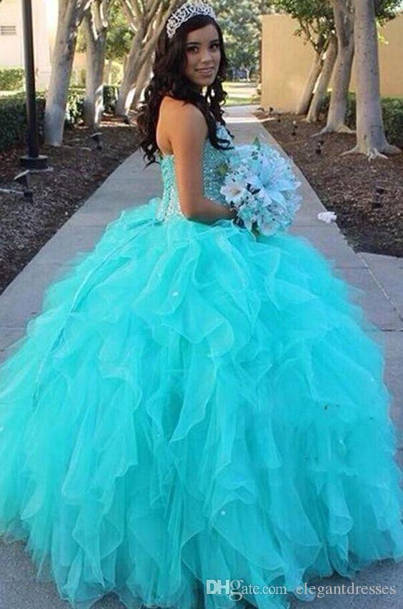Bollklänning Ny Ankomst Prinsessan Style Sweetheart Piping Blue Party Quinceanera Klänningar med pärlor Qda027