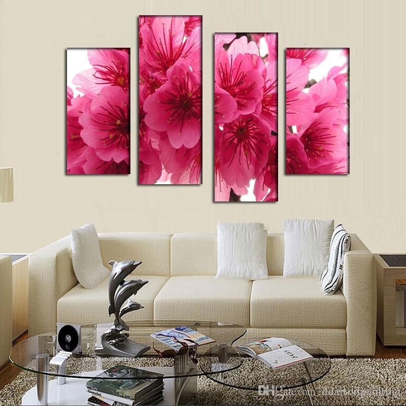 2016 New 5 Panel cherry blossom pink branch close up oil painting For home Wall Art Picture Unframed gift