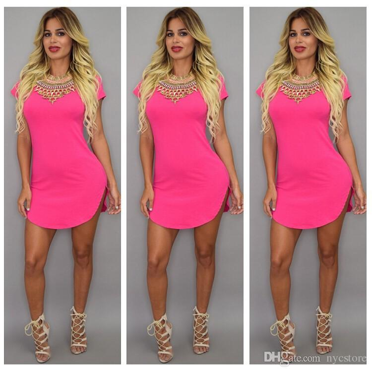 4XL Plus Size Summer Style Tshirt Dress 2016 Mujeres Ropa Short Beach Dress Party Mini Sexy Vendaje Bodycon Mujeres Vestidos