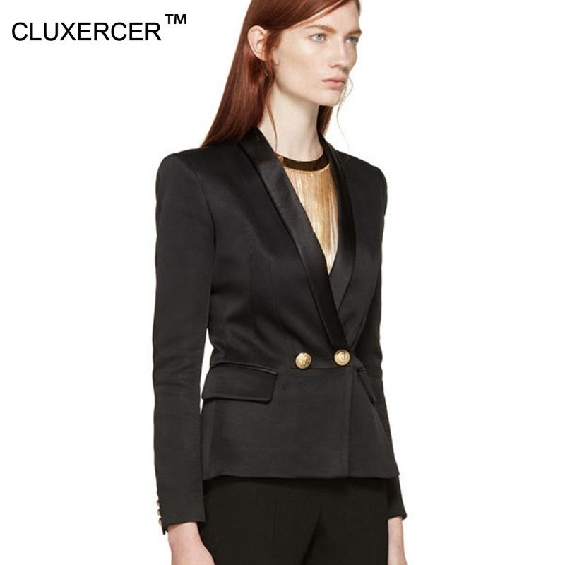 2017 Cluxercer Brand Blazer Women Double Breasted Suit Jacket Gold ...