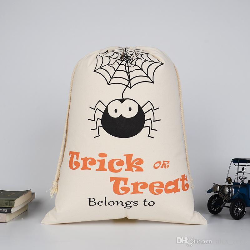 2017 Mais Novo Dia Das Bruxas Grande sacos de Lona de algodão Saco de Cordão Com Abóbora diabo aranha Presentes Hallowmas Sacos de Saco 9 Estilos Livre DHL