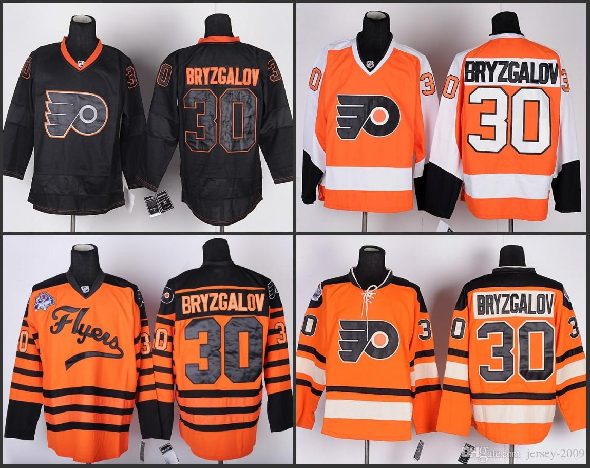 best sneakers 74196 818cd MEN Philadelphia Flyers Jerseys 30 Ilya Bryzgalov jersey white orange Ice  Hockey Jersey Embroidery Stitched S-3XL