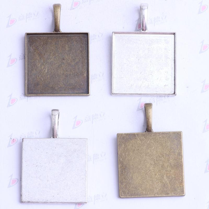 37.9 * 21.2 * 7.5mm Cuadrados de corcho base encantos antiguos de plata / bronce aleación de zinc Colgante DIY joyería colgante collar apto / 2420